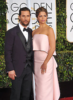Matthew McConaughey &amp; Camila Alves  at the 72nd Annual Golden Globe Awards at the Beverly Hilton Hotel, Beverly Hills.<br /> January 11, 2015  Beverly Hills, CA<br /> Picture: Paul Smith / Featureflash