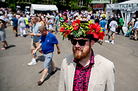 ELMONT, NY - JUNE 09: A man wears a decorative hat during Belmont Stakes Day at Belmont Park on June 9, 2018 in Elmont, New York. (Photo by Scott Serio/Eclipse Sportswire/Getty Images)