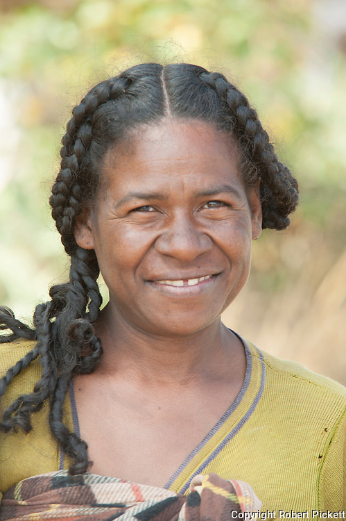 Portrait of Local Woman, near Zombitse-Vohibasia National Park, Madagascar