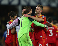 23rd  November 2019; Goodison Park , Liverpool, Merseyside, England; English Premier League Football, Everton versus Norwich City; Dennis Srbeny of Norwich City celebrates with team mate Norwich City goalkeeper Tim Krul as the game ends in a 0-2 win for Norwich - Strictly Editorial Use Only. No use with unauthorized audio, video, data, fixture lists, club/league logos or 'live' services. Online in-match use limited to 120 images, no video emulation. No use in betting, games or single club/league/player publications