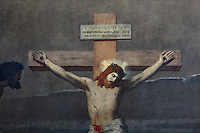 Christ Crucified, painting with Hebrew inscription, North Transept, Eglise Saint-Sulpice (St Sulpitius' Church), c.1646-1745, late Baroque church on the Left Bank, Paris, France. Picture by Manuel Cohen