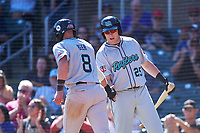 Salt River Rafters Seth Beer (8), of the Arizona Diamondbacks organization, is congratulated by Luke Raley (25) after scoring a run during the Arizona Fall League Championship Game against the Surprise Saguaros on October 26, 2019 at Salt River Fields at Talking Stick in Scottsdale, Arizona. The Rafters defeated the Saguaros 5-1. (Zachary Lucy/Four Seam Images)
