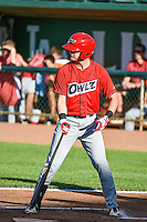Jeff Boehm (20) of the Orem Owlz at bat against the Ogden Raptors in Pioneer League action at Lindquist Field on June 18, 2015 in Ogden, Utah. This was Opening Night play of the 2015 Pioneer League season.  (Stephen Smith/Four Seam Images)