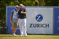 Shane Lowry (IRL) looks over his tee shot on 18 during Round 1 of the Zurich Classic of New Orl, TPC Louisiana, Avondale, Louisiana, USA. 4/26/2018.<br /> Picture: Golffile | Ken Murray<br /> <br /> <br /> All photo usage must carry mandatory copyright credit (&copy; Golffile | Ken Murray)
