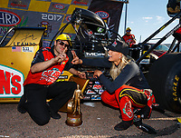 Apr 23, 2017; Baytown, TX, USA; NHRA top fuel driver Leah Pritchett celebrates with crew members after winning the Springnationals at Royal Purple Raceway. Mandatory Credit: Mark J. Rebilas-USA TODAY Sports