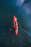 Kayaking the smooth water on the Clark Fork River in Missoula, Montana