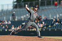 Salt River Rafters relief pitcher Kevin Ginkel (25), of the Arizona Diamondbacks organization, delivers a pitch during the Arizona Fall League Championship Game against the Peoria Javelinas at Scottsdale Stadium on November 17, 2018 in Scottsdale, Arizona. Peoria defeated Salt River 3-2 in 10 innings. (Zachary Lucy/Four Seam Images)