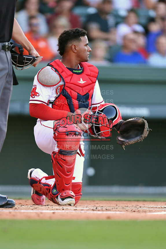 Catcher Roldani Baldwin (16) of the Greenville Drive in a game against the Asheville Tourists on Tuesday, May 2, 2017, at Fluor Field at the West End in Greenville, South Carolina. Asheville won, 7-1. (Tom Priddy/Four Seam Images)