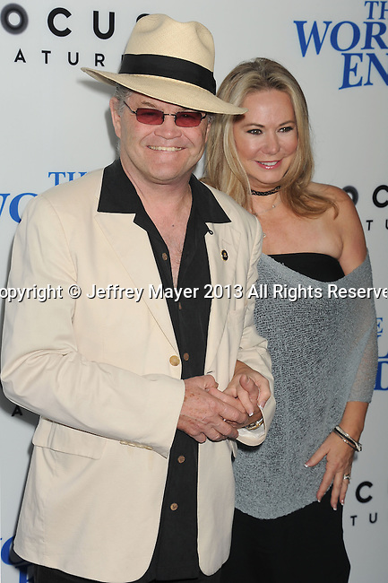 HOLLYWOOD, CA- AUGUST 21: Musician Micky Dolenz (L) and Donna Quinter arrive at the Los Angeles premiere of 'The World's End' at ArcLight Cinemas Cinerama Dome on August 21, 2013 in Hollywood, California.