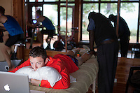 Joann Kowal French 1500 meter speciatlist getting massaged at the Kerio View Hotel in Iten. Kowal has trained extensively at the high altitude town in Kenya for the past few years.