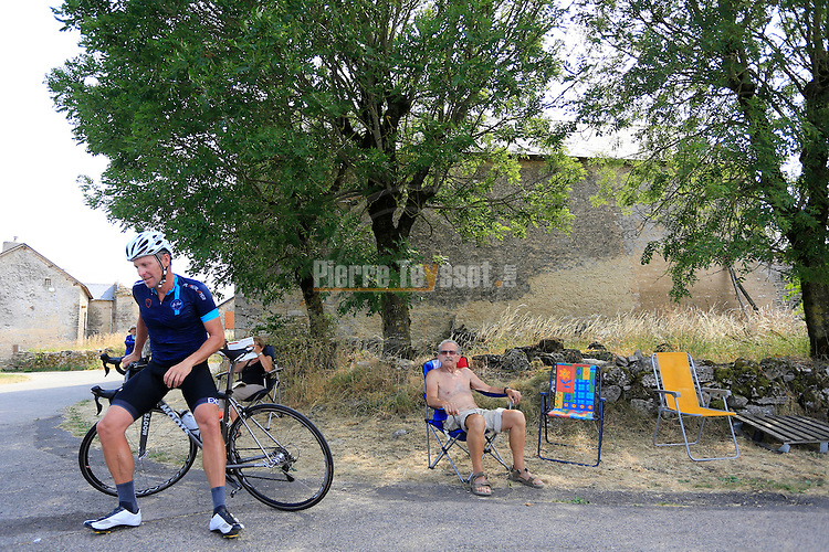 17/07/2015, Mende - Le Tour - One Day Ahead, Stage 13 with Lance Armstrong and Geoff Thomas.<br /> Lance Armstrong (left) in action with Geoff Thomas and his ten-strong team of amateur riders, who are aiming to raise &pound;1million for blood cancer charity Cure Leukaemia on  July 17, 2015 in Mende, France. <br /> &copy; Pierre Teyssot