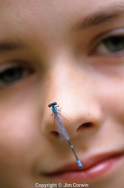 Young girl ( 11 years old) with damselfly on her nose looking at camera Lake Pleasant Bothell Washington State USA