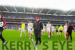 Mickey Hearte Leaves the field after Kerry defeated Tyrone in the All Ireland Semi Final at Croke Park on Sunday.
