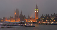Big Ben and Palace of Westminster in the mist at night, 1858, clock tower of Palace of Westminster or Houses of Parliament, London, UK, 1840-60, by Sir Charles Barry and Augustus Pugin, seen from South Bank of the river Thames. Picture by Manuel Cohen