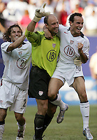 July 24, 2005: East Rutherford, NJ, USA:  USMNT captain and goalkeeper Kasey Keller (18) celebrates with teammats Landon Donovan (10)  and Frankie Hejduk (2) after winning the CONCACAF Gold Cup at Giants Stadium.  The USMNT won 3-1 on penalty kicks.