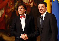 Il Presidente del Consiglio Matteo Renzi accoglie il Primo Ministro del Belgio Elio Di Rupo a Palazzo Chigi, Roma, 28 febbraio 2014.<br /> Italian Premier Matteo Renzi welcomes Belgian Prime Minister Elio Di Rupo, left, at Chigi Palace, Rome, 28 February 2014.<br /> UPDATE IMAGES PRESS/Riccardo De Luca