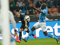 Rodrigo Palacio  Kalidou Koulibaly  during the Italian serie A   soccer match between SSC Napoli and Inter    at  the San Siro    stadium in Milan  Italy , Octoberr 19 , 2014