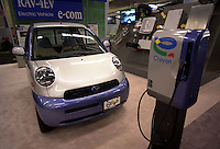 D&K :Montreal, Oct 2000<br /> Various car manufacturers such as Toyota with this `` e.com `` model,  were showing electrical and hybrid vehicules at the EVS-17 conference on Electrical Vehicules held from October 14 to 17 in Montreal, Canada<br /> <br /> NOTE :  Nikon D-1 digital photos (similar 35mm slides available on request)
