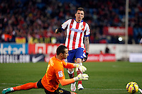 Mario Mandzukic of Atletico de Madrid and Sergio Asenjo of Villarreal during La Liga match between Atletico de Madrid and Villarreal at Vicente Calderon stadium in Madrid, Spain. December 14, 2014. (ALTERPHOTOS/Caro Marin) /NortePhoto