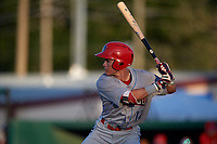 Clearwater Threshers Simon Muzziotti (12) at bat during a Florida State League game against the Dunedin Blue Jays on May 11, 2019 at Jack Russell Memorial Stadium in Clearwater, Florida.  Clearwater defeated Dunedin 9-3.  (Mike Janes/Four Seam Images)