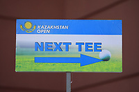 Tee sign during the third round of the Kazakhstan Open presented by ERG played at Zhailjau Golf Resort, Almaty, Kazakhstan. 15/09/2018<br /> Picture: Golffile | Phil Inglis<br /> <br /> All photo usage must carry mandatory copyright credit (&copy; Golffile | Phil Inglis)