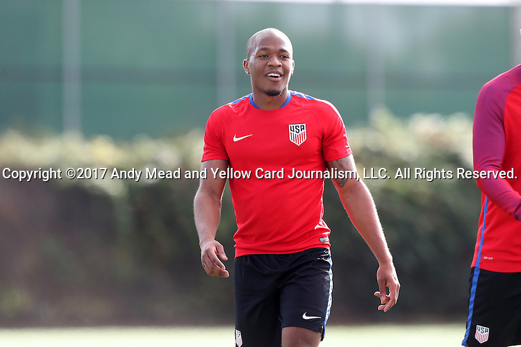 11 January 2017: Darlington Nagbe. The United States Men's National Team held their first training session under new head coach Bruce Arena on The Murphy Family Field at the StubHub Center in Carson, California.