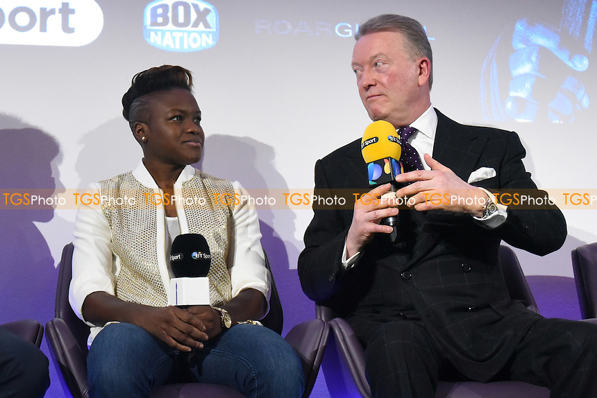 Boxer Nicola Adams OBE (L) and promoter Frank Warren during a Frank Warren and BT Sport Press Conference at the BT Tower on 23rd January 2017
