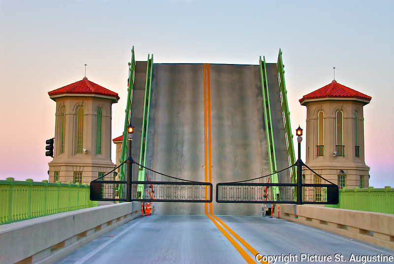 St. Augustine's Bridge of Lions with spans up on a early summer evening