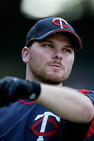 Jason Kubel of the Minnesota Twins during batting practice before a 2007 MLB season game against the Los Angeles Angels at Angel Stadium in Anaheim, California. (Larry Goren/Four Seam Images)