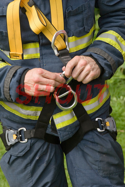 Firefighters practise line training practical use of rescue equipment. This image may only be used to portray the subject in a positive manner..©shoutpictures.com..john@shoutpictures.com