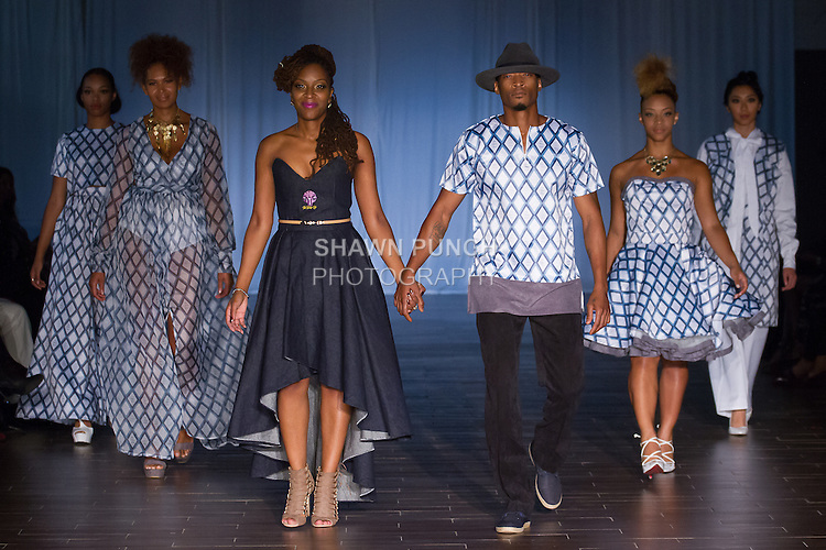 Fashion Designer Alicia Mullings from the United Kingdom, walks runway with models for the close of her Alicia Mullings Spring 2017 fashion show, for Fashion Week Brooklyn Spring Summer 2017, on October 7th 2016 at Brooklyn Expo Center.