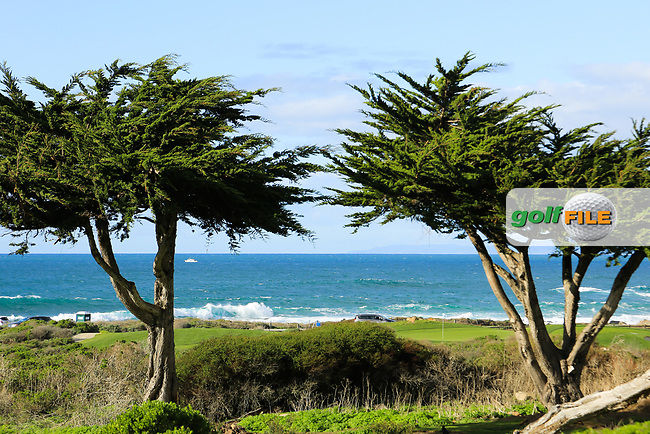 A general view of the 7th hole Shore Course, Monterey Peninsula Country Club during previews ahead of the AT&T Pro-Am, Pebble Beach Golf Links, Monterey, California, USA. 06/02/2019<br /> Picture: Golffile | Phil Inglis<br /> <br /> <br /> All photo usage must carry mandatory copyright credit (© Golffile | Phil Inglis)
