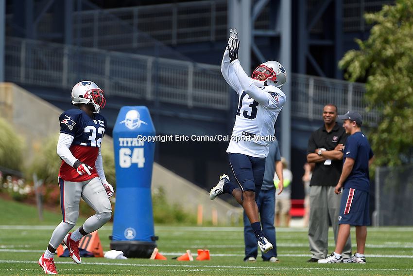 August 4, 2015: New England Patriots wide receiver Brandon Gibson (13) leaps to make a catch during the New England Patriots training camp held on the practice field at Gillette Stadium, in Foxborough, Massachusetts. Eric Canha/CSM