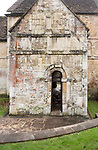 Exterior walls and door of Saxon building church of Saint Laurence, Bradford on Avon, Wiltshire, England, UK probably built circa 1000 AD