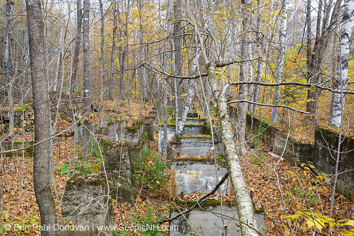 Remnants of the sawmill in the abandoned village of Livermore during the autumn months. This was a logging village in the late 19th and early 20th centuries along the Sawyer River Logging Railroad in Livermore, New Hampshire. The town and railroad were owned by the Saunders family.