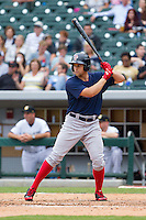 Garin Cecchini (3) of the Pawtucket Red Sox at bat against the Charlotte Knights at BB&T Ballpark on August 10, 2014 in Charlotte, North Carolina.  The Red Sox defeated the Knights  6-4.  (Brian Westerholt/Four Seam Images)