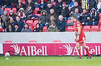 Picture by Allan McKenzie/SWpix.com - 04/03/2017 - Rugby League - Betfred Super League - Salford Red Devils v Warrington Wolves - AJ Bell Stadium, Salford, England - Gareth O'Brien prepares to kick a conversion, AJ Bell, branding.