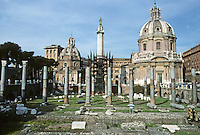 Italy: Rome--The Forum of Trajan. Truncated columns of the Basilica Ulpia in the foreground.  Photo '82.