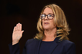 Christine Blasey Ford, the woman accusing Supreme Court nominee Brett Kavanaugh of sexually assaulting her at a party 36 years ago, testifies before the US Senate Judiciary Committee on Capitol Hill in Washington, DC, September 27, 2018.  / AFP PHOTO / POOL / SAUL LOEB / AFP PHOTO / POOL / Saul LOEB