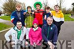 Taking part in the Gaelcolaiste Ciarrai 5k fun run in the Tralee town park on Friday.<br /> Kneeling l to r: Niall O'Chonchuir, Máire Ní Laocha and Richie Bairéad<br /> Back l to r: Kian O'Riagain, Ruadhraí MacAmhlaoibh, Cillian Ó Treantaigh, Sean Ó Murchú and Sean Ó Loingsigh.