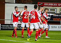 Fleetwood Town players celebrate after going 1-0 up<br /> <br /> Photographer Alex Dodd/CameraSport<br /> <br /> The EFL Checkatrade Trophy - Northern Group B - Fleetwood Town v Leicester City U21 - Tuesday September 11th 2018 - Highbury Stadium - Fleetwood<br />  <br /> World Copyright &copy; 2018 CameraSport. All rights reserved. 43 Linden Ave. Countesthorpe. Leicester. England. LE8 5PG - Tel: +44 (0) 116 277 4147 - admin@camerasport.com - www.camerasport.com