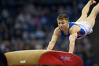 Sam Oldham (GBR) in action during the men's Vault competition.  FIG World Cup Series of Gymnastics. The O2 Arena, London,  Britain 8th April 2017.