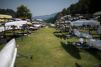 """Lucerne, SWITZERLAND, 12th July 2018, Thursday  Genera lView, """"Boat's Racked in rows"""", FISA World Cup III, Lake Rotsee, © Peter SPURRIER,"""