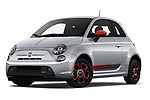 Stock pictures of low aggressive front three quarter view of 2019 Fiat 500e Battery-Electric 3 Door Hatchback Low Aggressive