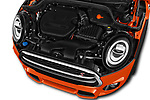 Car Stock 2018 MINI Cooper JCW Door Hatchback Engine  high angle detail view