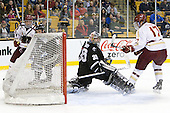 Destry Straight (BC - 17) socres on Alex Beaudry (PC - 35) to tie the game at 2 in the first period. - The Boston College Eagles defeated the Providence College Friars 4-2 in their Hockey East semi-final on Friday, March 16, 2012, at TD Garden in Boston, Massachusetts.