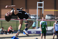 NWA Democrat-Gazette/J.T. WAMPLER Fayetteville's Solomon Evans clears the bar during the high-jump competition Wednesday April 11, 2018 at the Bulldog Relays in Fayetteville.