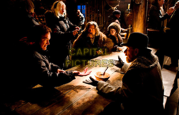 Quentin Tarantino (Director), Kurt Russell, Jennifer Jason Leigh, Tim Roth<br /> on the set of The Hateful Eight (2015) <br /> *Filmstill - Editorial Use Only*<br /> CAP/NFS<br /> Image supplied by Capital Pictures