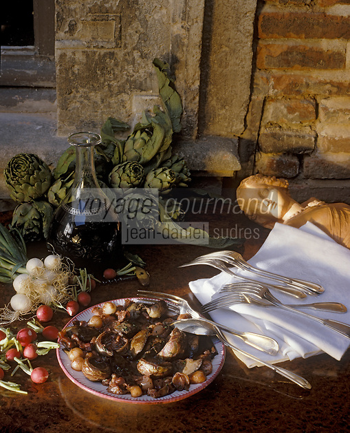 Europe/France/Midi-Pyrénées/31/Haute-Garonne/Toulouse: Fricassée de foies de lapin aux radis roses et aux artichauts
