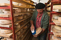 Europe/France/Aquitaine/64/Pyrénées-Atlantiques/Pays-Basque/Aussurucq: Jean-Paul Erdozainy Etchart , berger, dans le saloir de son cayolar dans les paturages d' Ahusquy - Fromage AOP Ossau-Iraty [Autorisation : 2011-129]